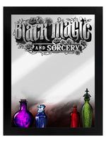 Framed Black Magic And Sorcery Mirrored Tin Sign