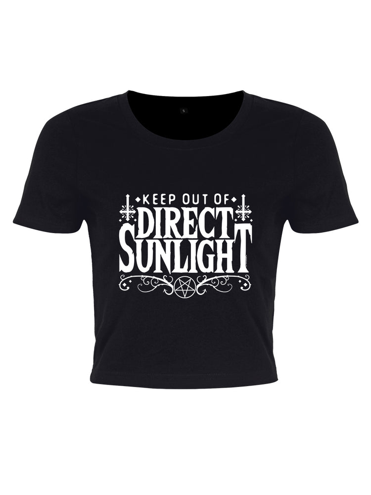 Keep Out Of Direct Sunlight Ladies Black Crop Top