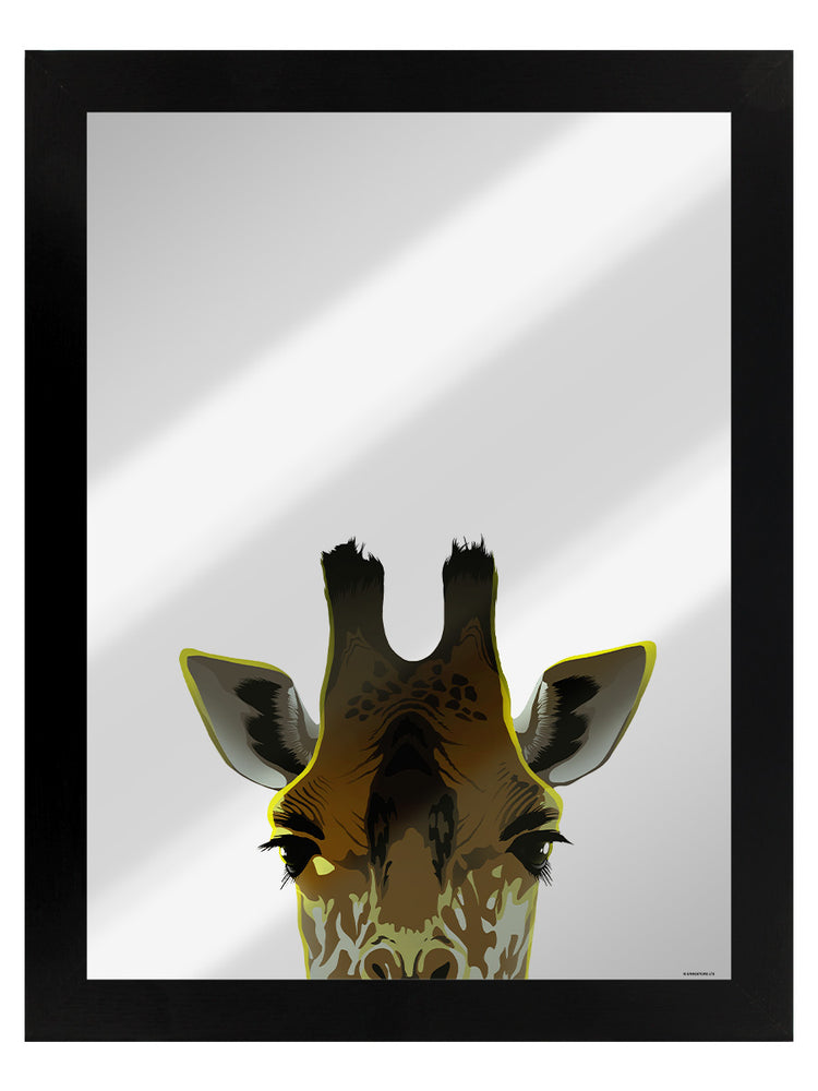 Framed Inquisitive Creatures Giraffe Mirrored Tin Sign
