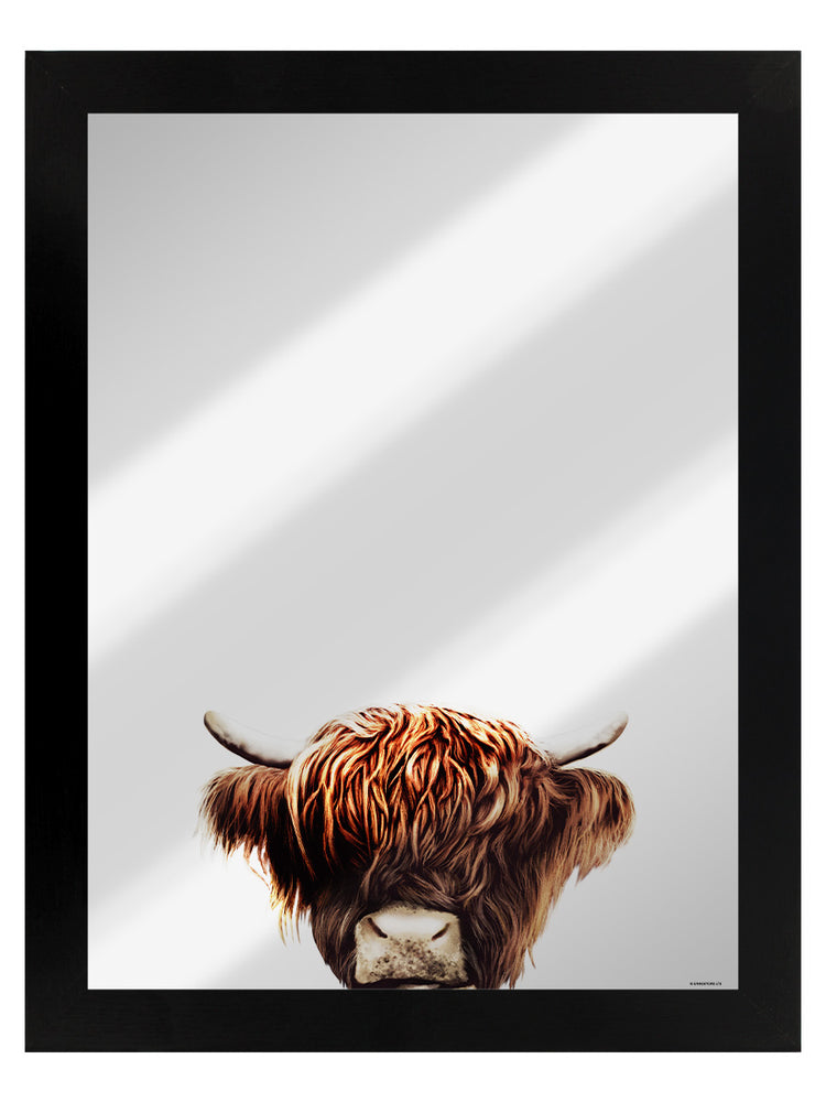 Highland Cow Mirrored Tin Sign