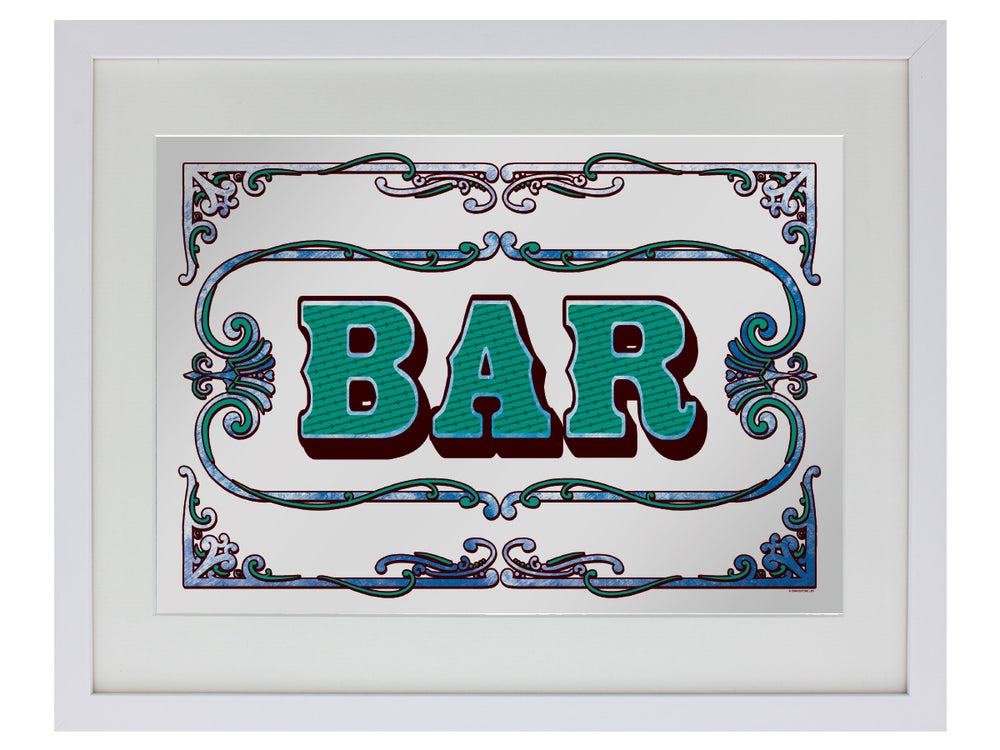 Framed Bar Small Mirrored Tin Sign