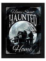 Framed Home Sweet Haunted Home Mirrored Tin Sign