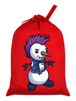 Punk Snowman Red Santa Sack
