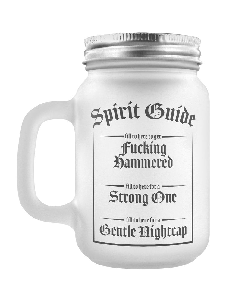 F**king Hammered Or A Gentle Nightcap? Spirit Guide Frosted Glass Mason Jar