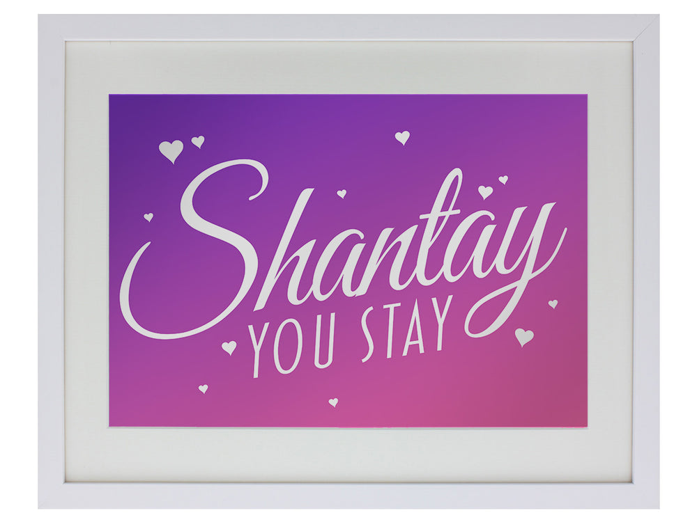 Framed Shantay You Stay! Mirrored Tin Sign