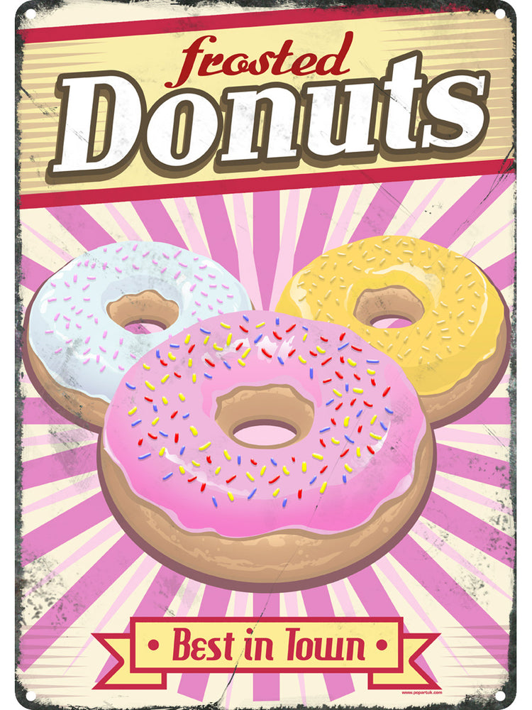 Frosted Donuts Tin Sign