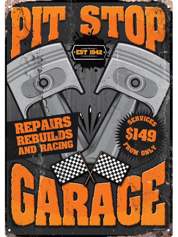 Pit Stop Garage Tin Sign