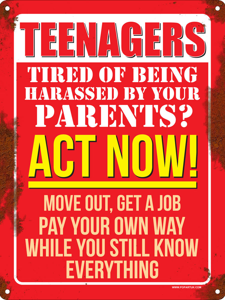Teenagers Act Now! Mini Tin Sign