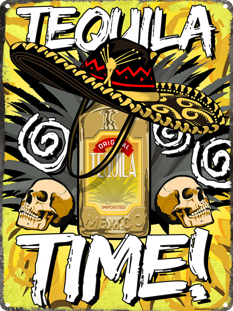 Tequila Time Tin Sign