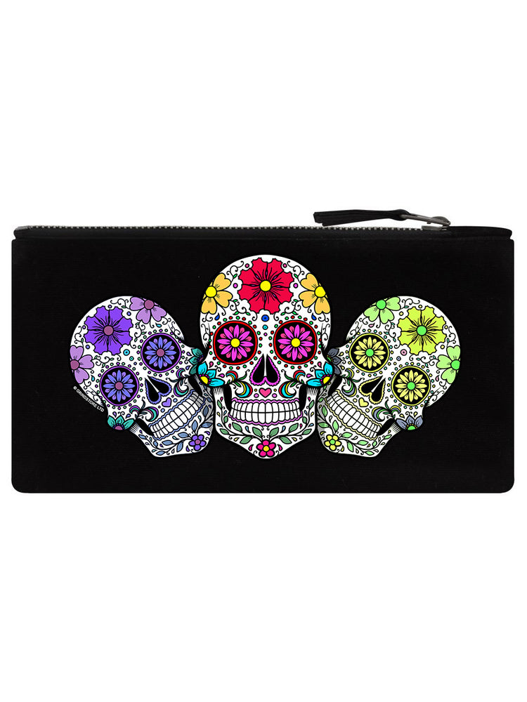 Sugar Skull Trio Black Pencil Case
