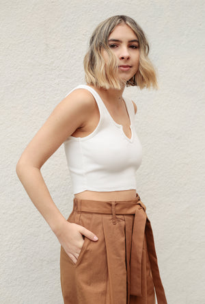 Rib Split Neckline Crop Top