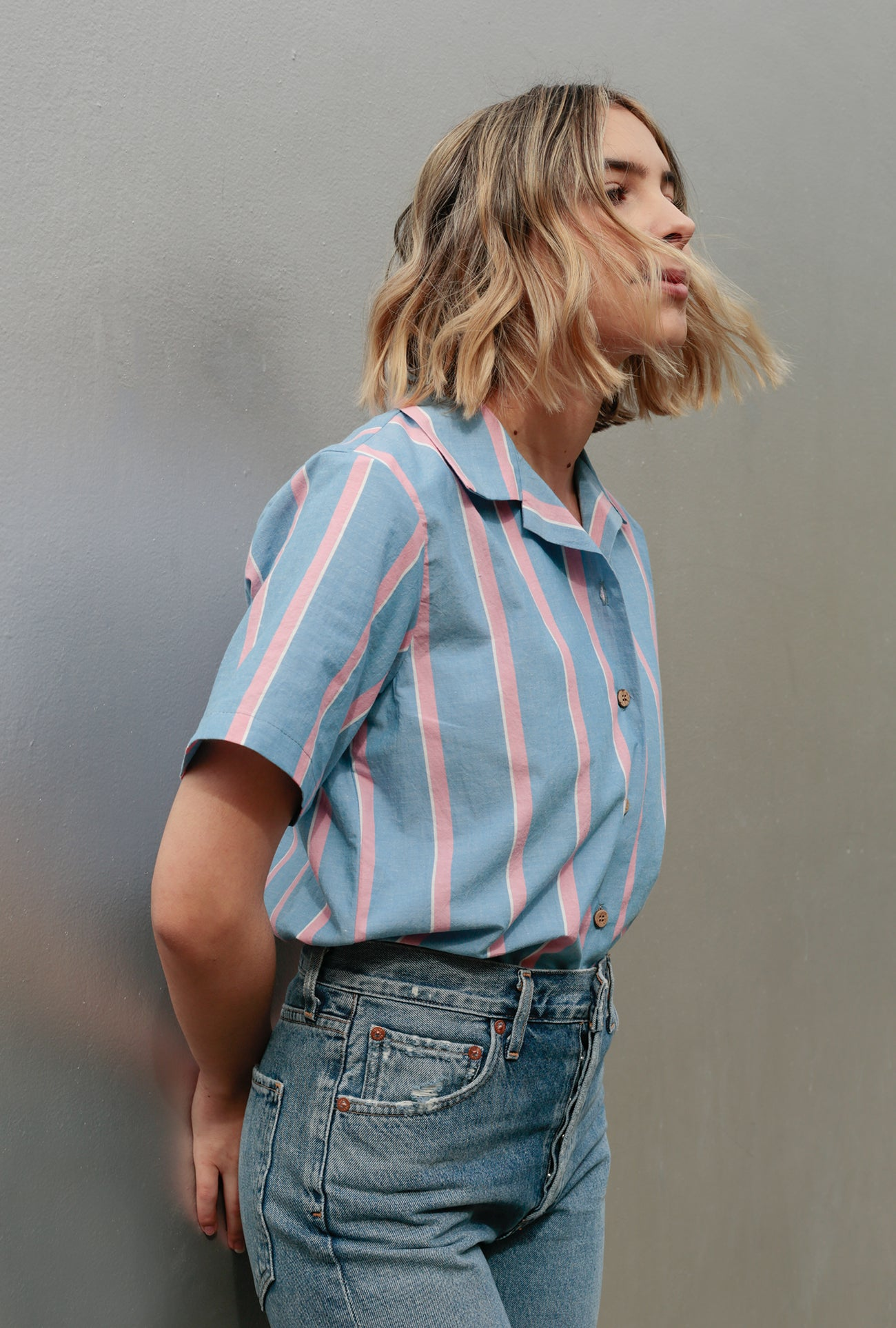 Chambray Slub Stripe Camp Collar Shirt