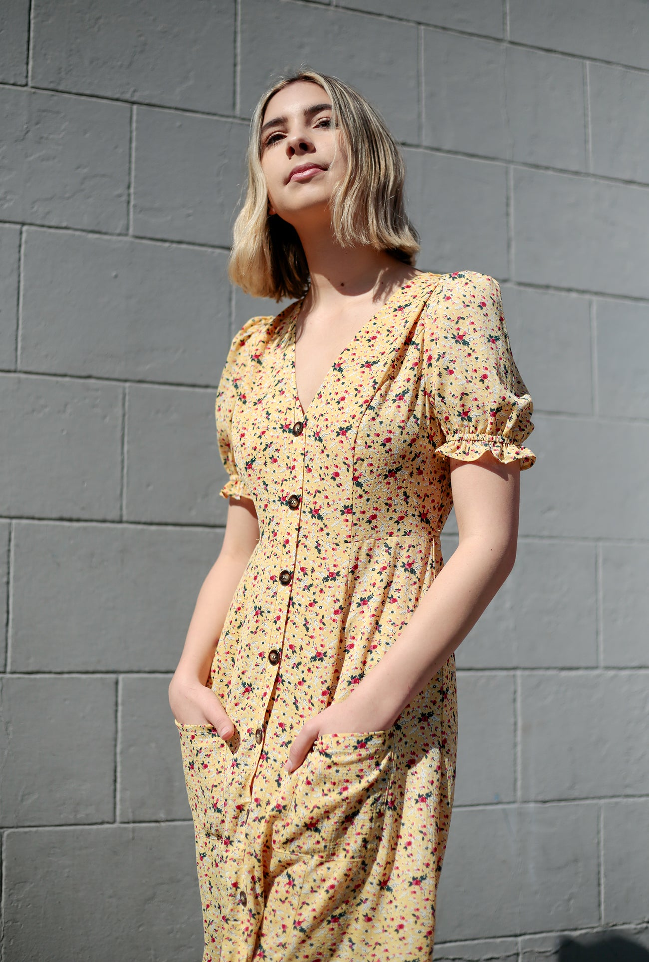 Floral V Neck Button Down Midi Dress