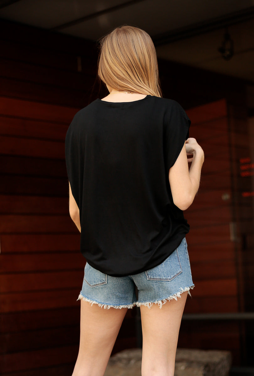 Solid Dolman Cap Sleeve Top