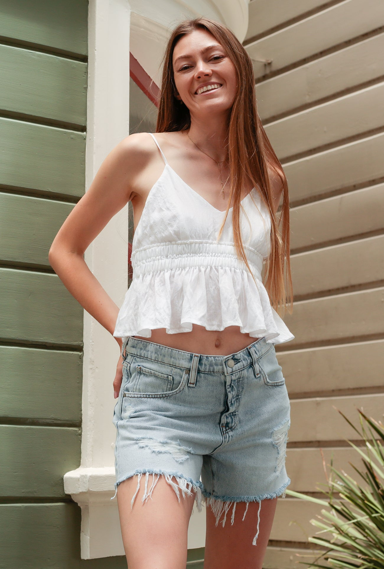 Spaghetti Strap Cinch Waist Top