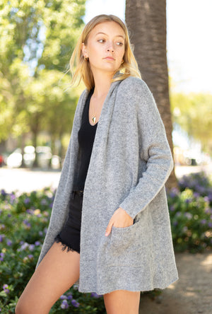 Open Oversized Lapel Cardigan
