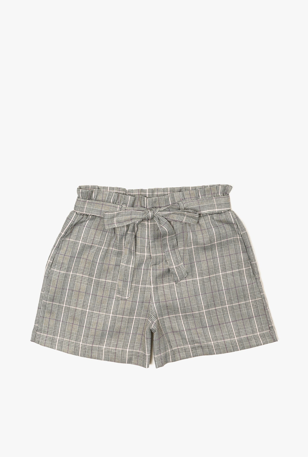 Plaid High Waist Tie Shorts