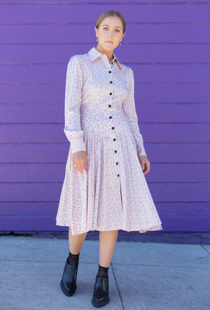 Fanny Pleated Shirt Dress