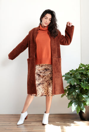 Wool Blend Faux Sherling Coat