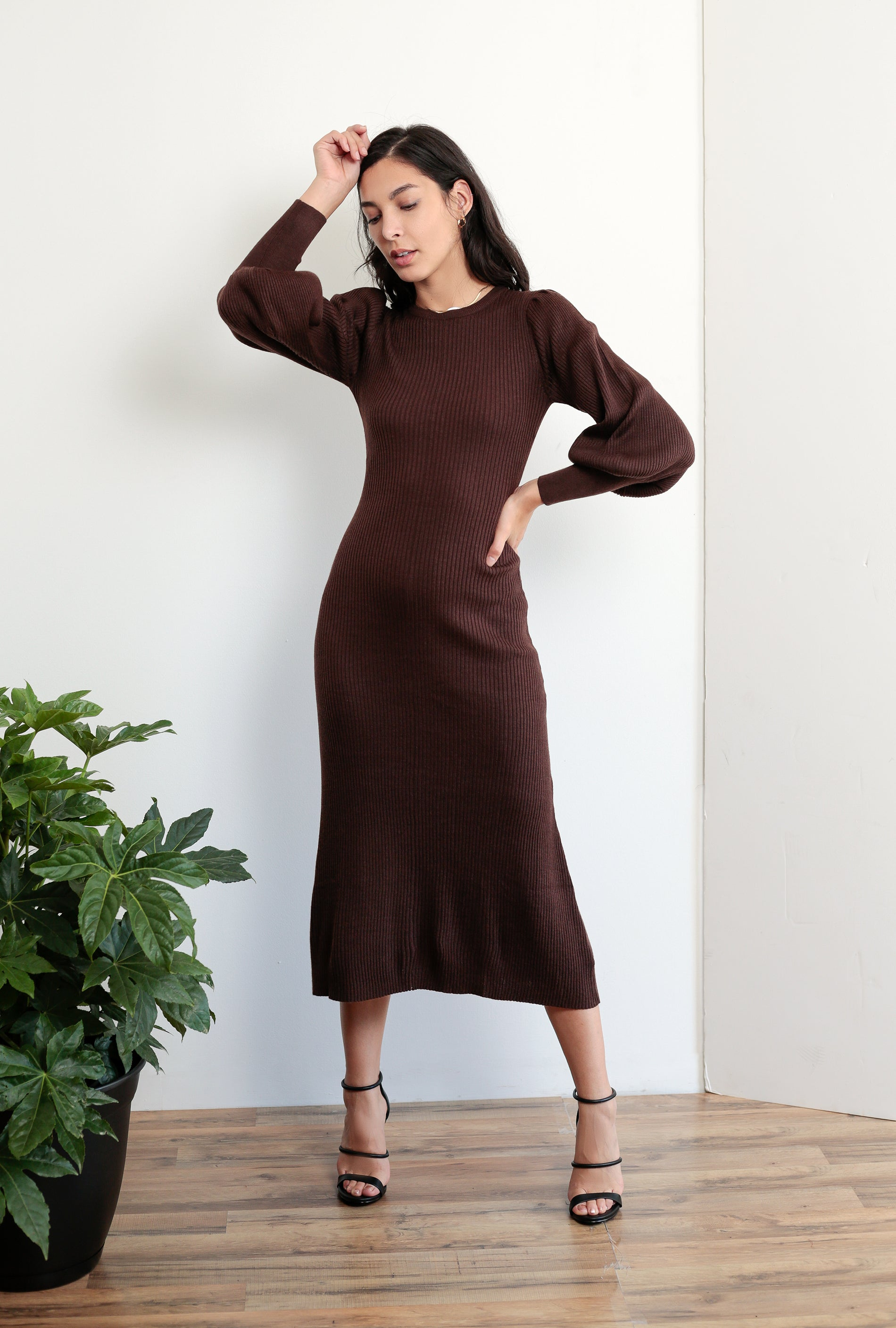 Cecilia Balloon Sleeve Knit Dress