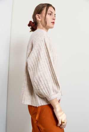 Jane Balloon Sleeve Rib Sweater