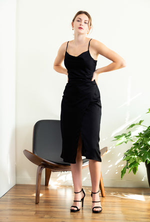 Spaghetti Strap Cowl Neck Slip Dress