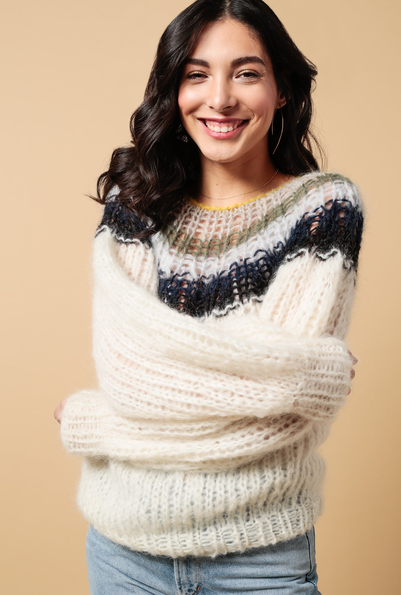 Gradient Mohair Pleated Sweater