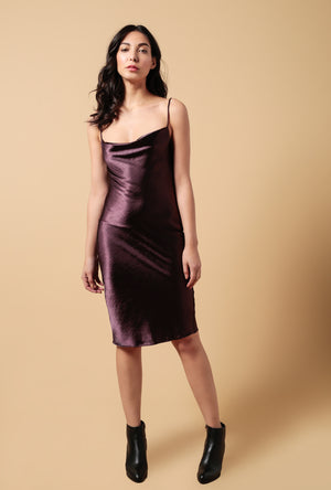 Satin Cowl Neck Spaghetti Strap Midi Dress
