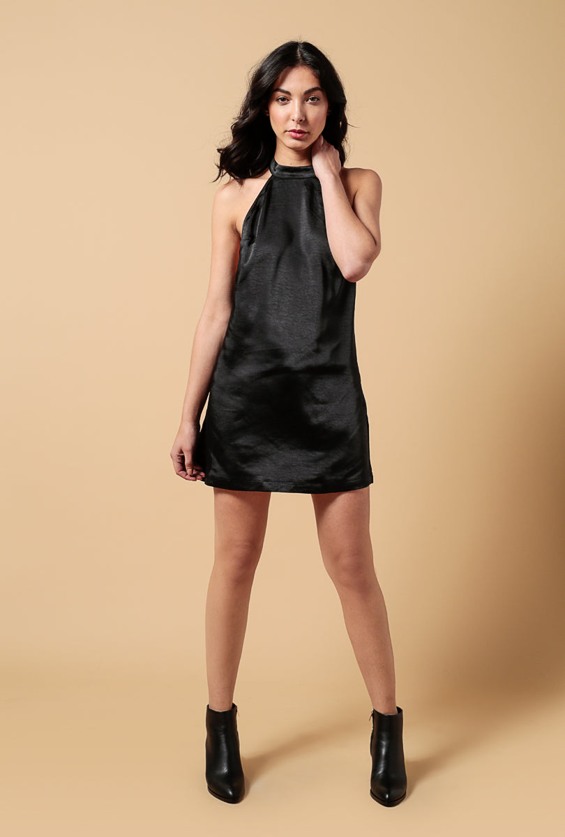 Satin Mock Neck Mini Dress