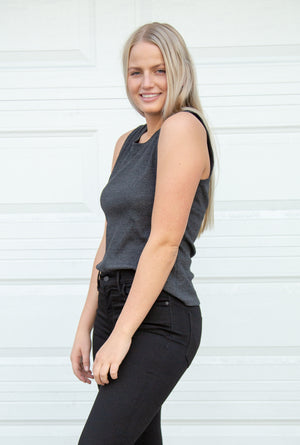 Rib Open Back SS Top