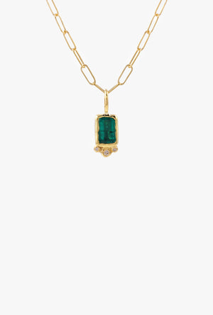 Rectangle Emerald w/ Triple Diamond Necklace