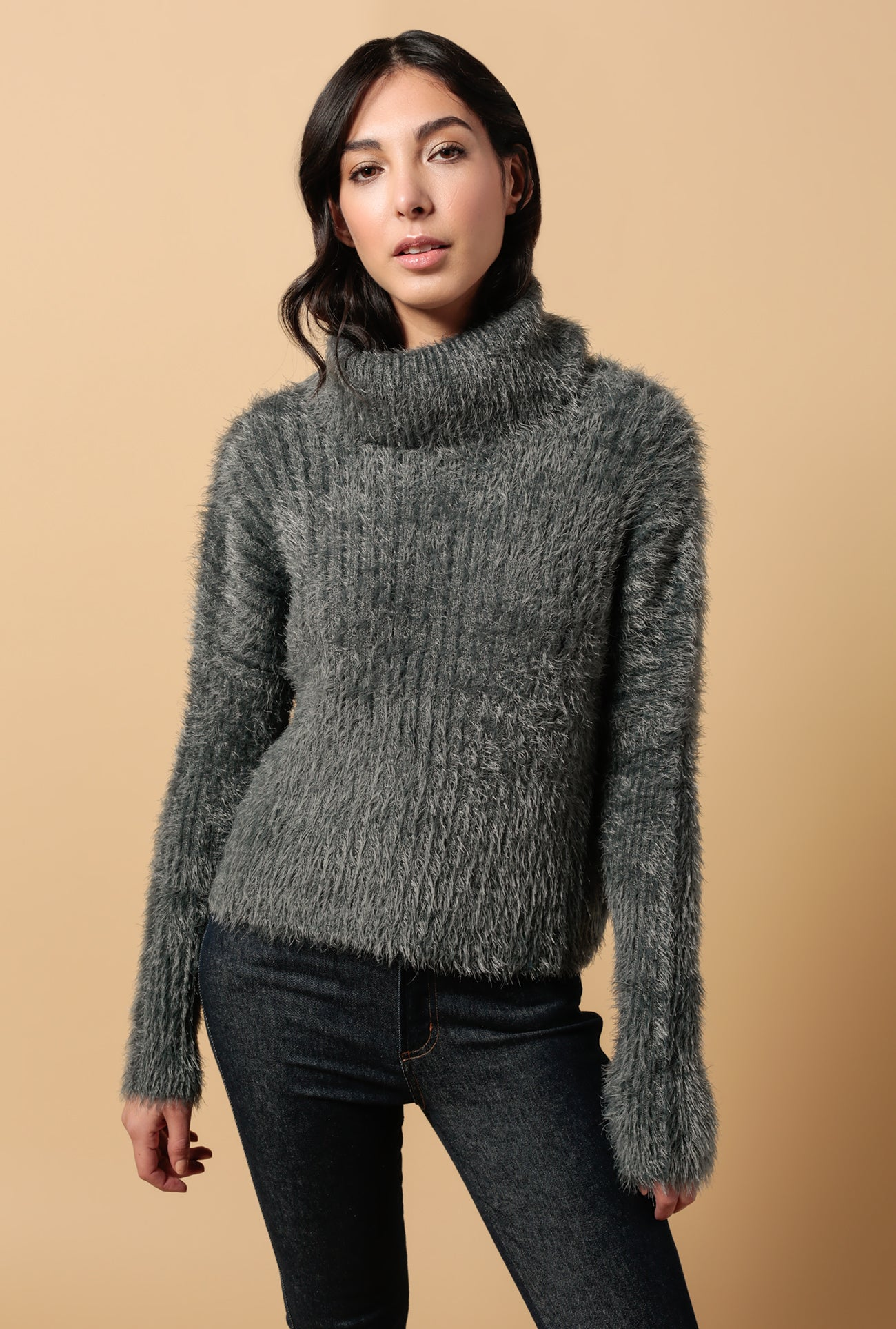 Isla Fuzzy Turtleneck Sweater