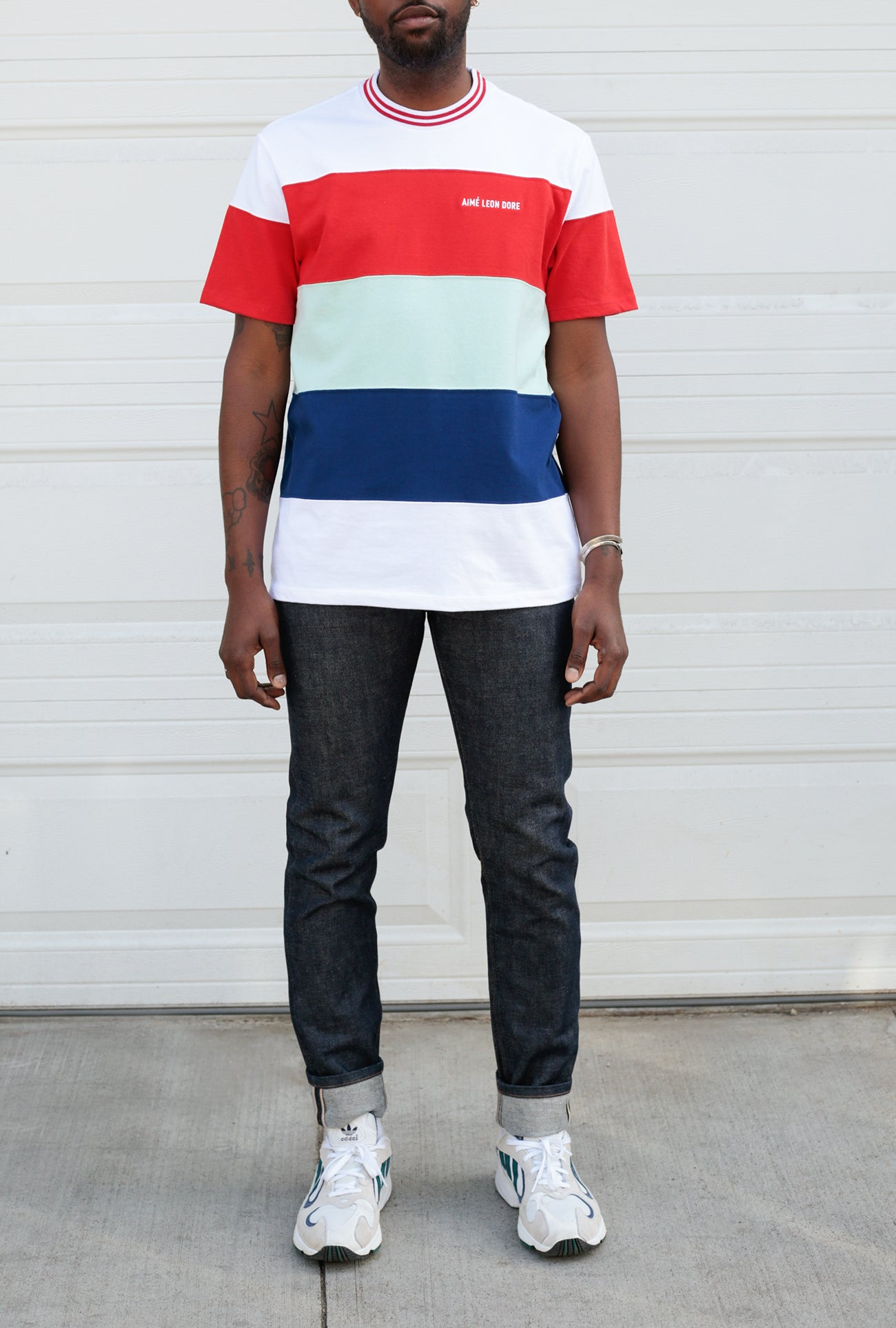 SS Striped Ribbed Collar Tee