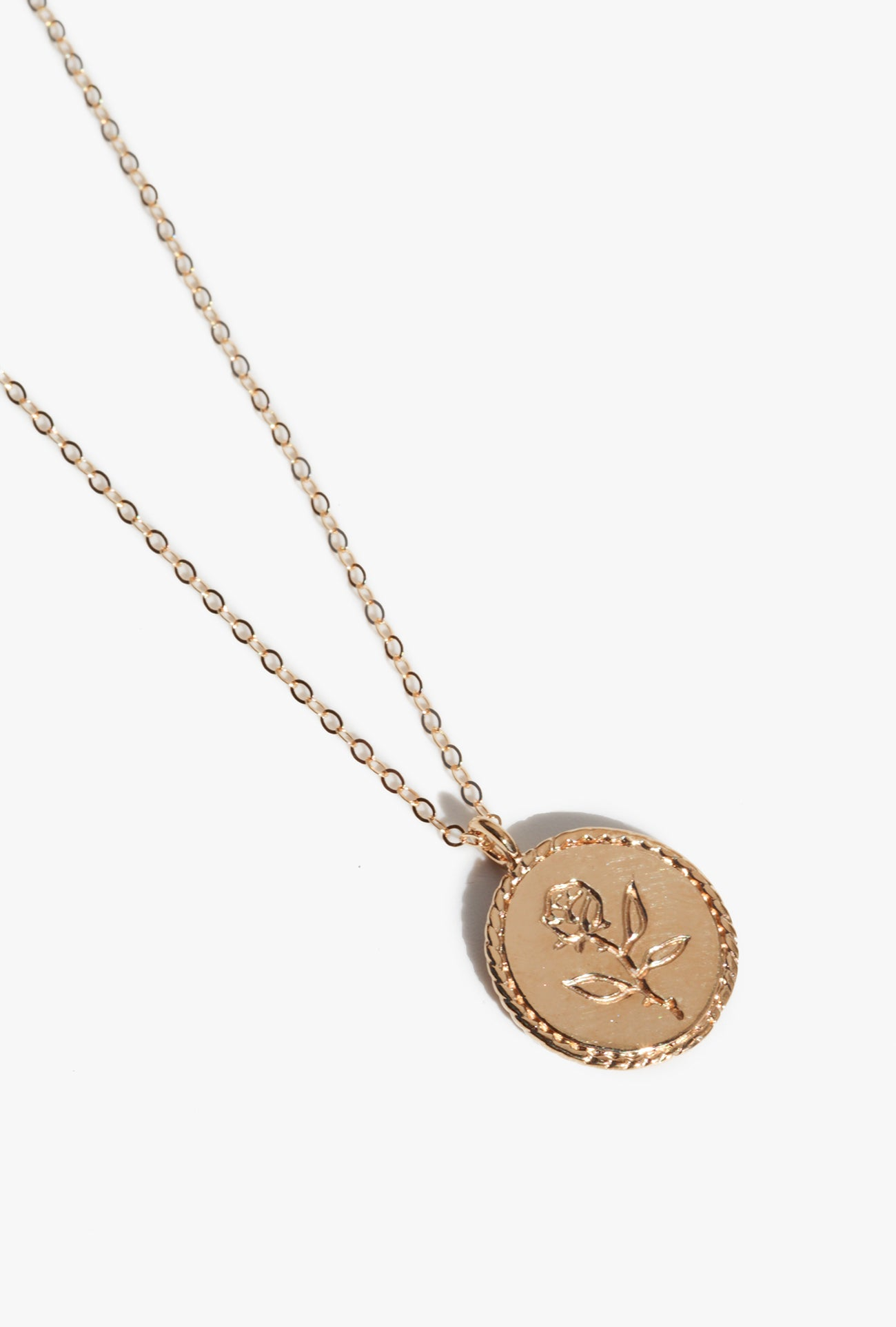Rose Coin Necklace - Gold Plated Bronze
