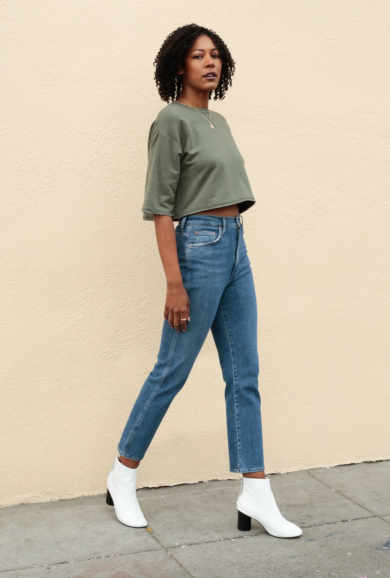 Pinch Waist High Rise Kick Jean