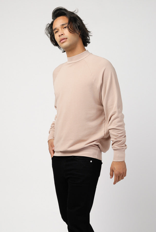 Mock Neck French Terry Raglan Sweater