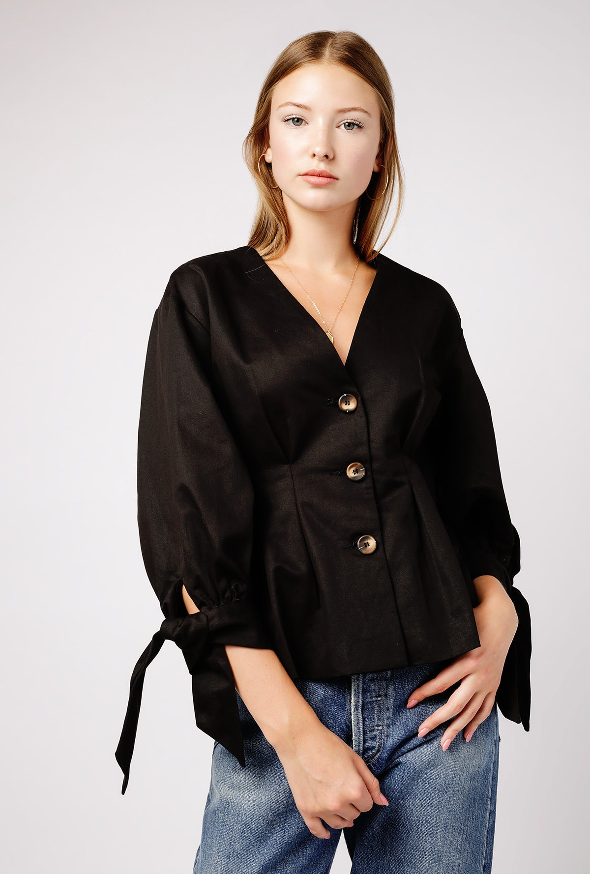 V Neck Pleated Button Down Top