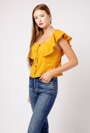 Ruffle SS Button Down Top