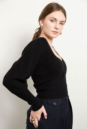 Camila Ruched Puff Sleeve Sweater