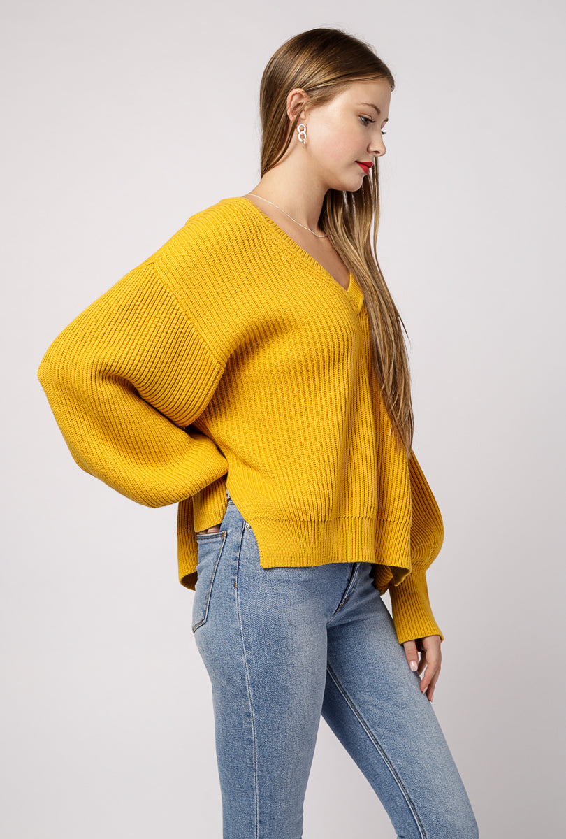 V Neck Balloon Sleeve Sweater