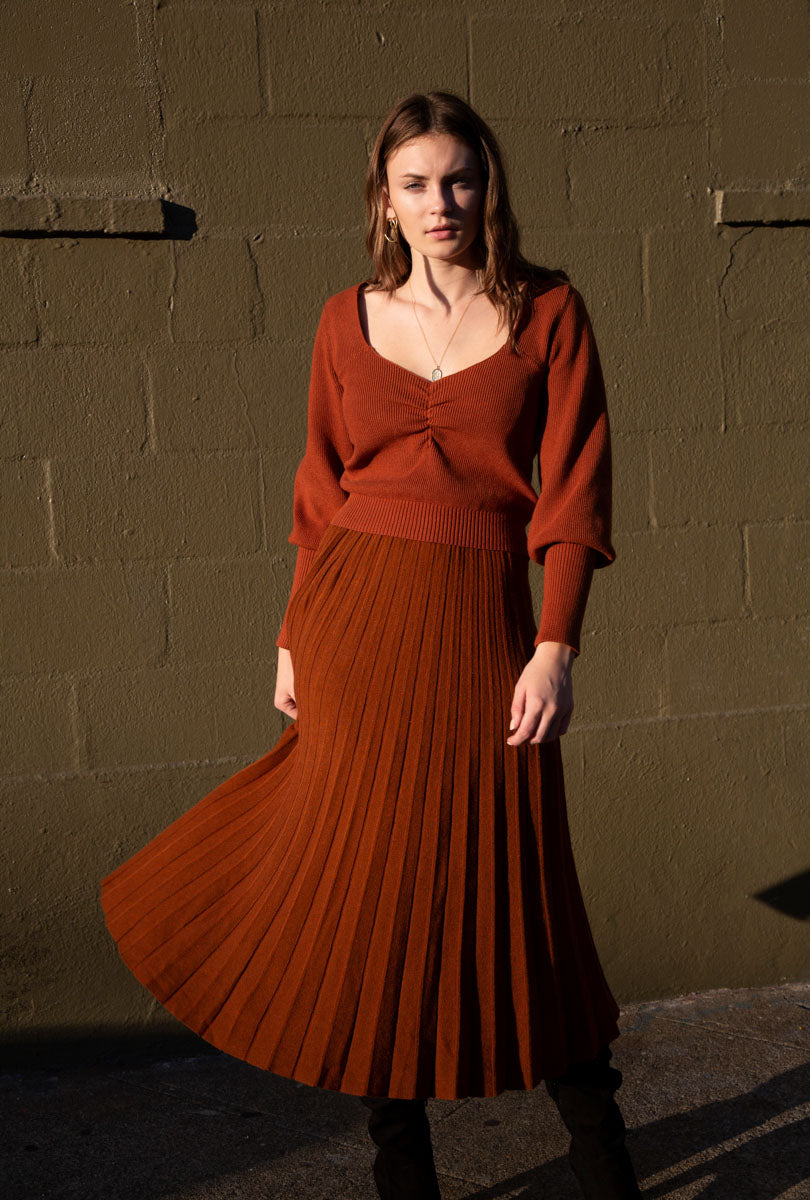 Adele Pleated  Knit Midi Skirt