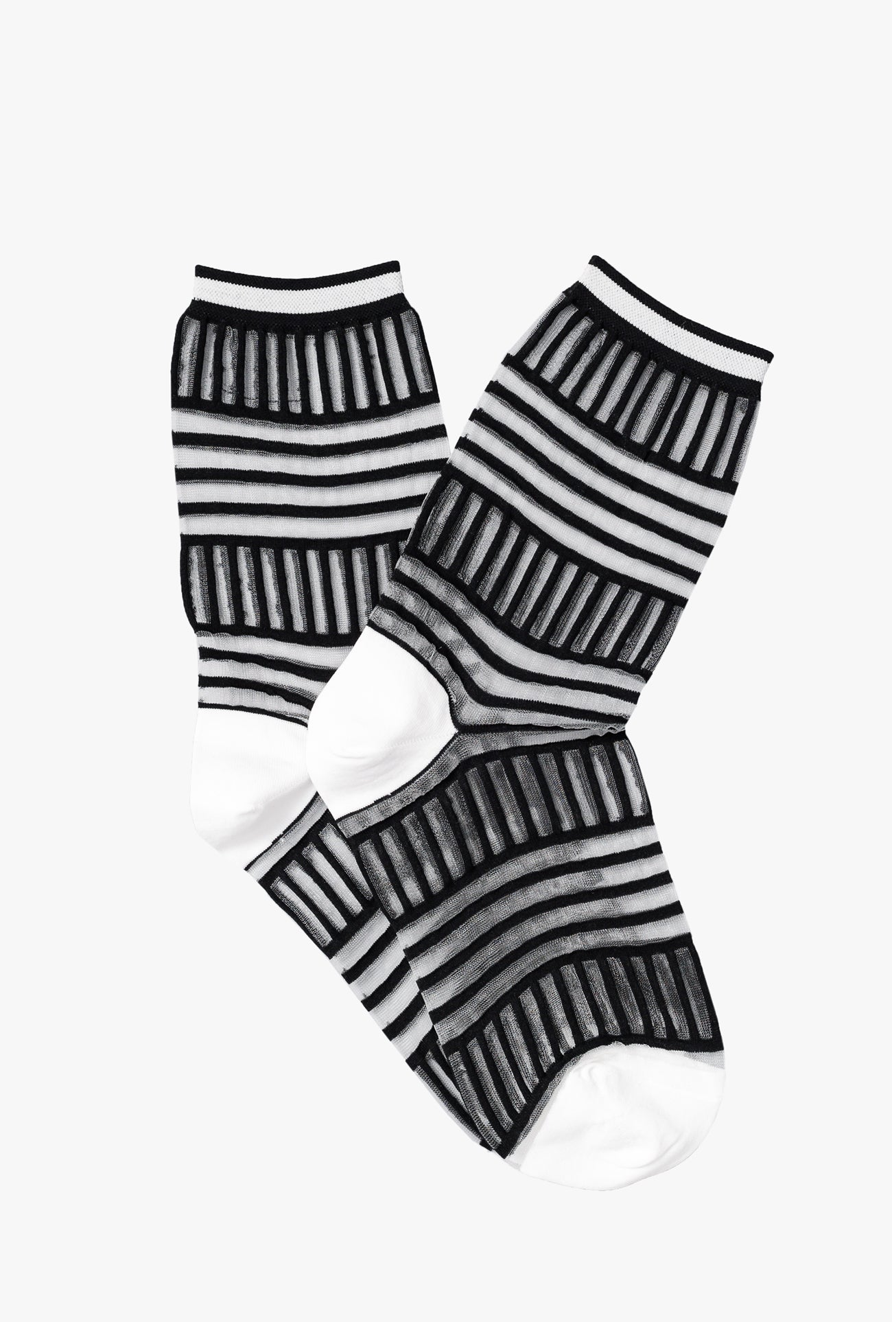 Mix Stripe Tulle Sheer Crew Sock