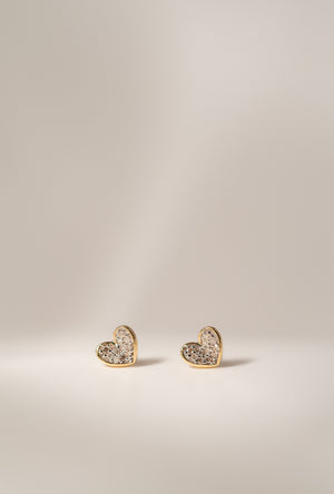 Super Tiny Pave Folded Heart Earrings P