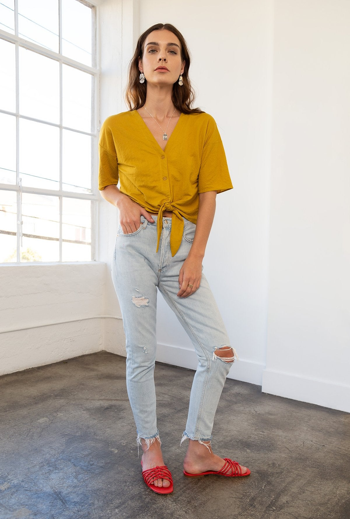 Boxy Button Down Front Tie Top