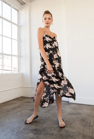 Satin Floral Midi Cami Dress