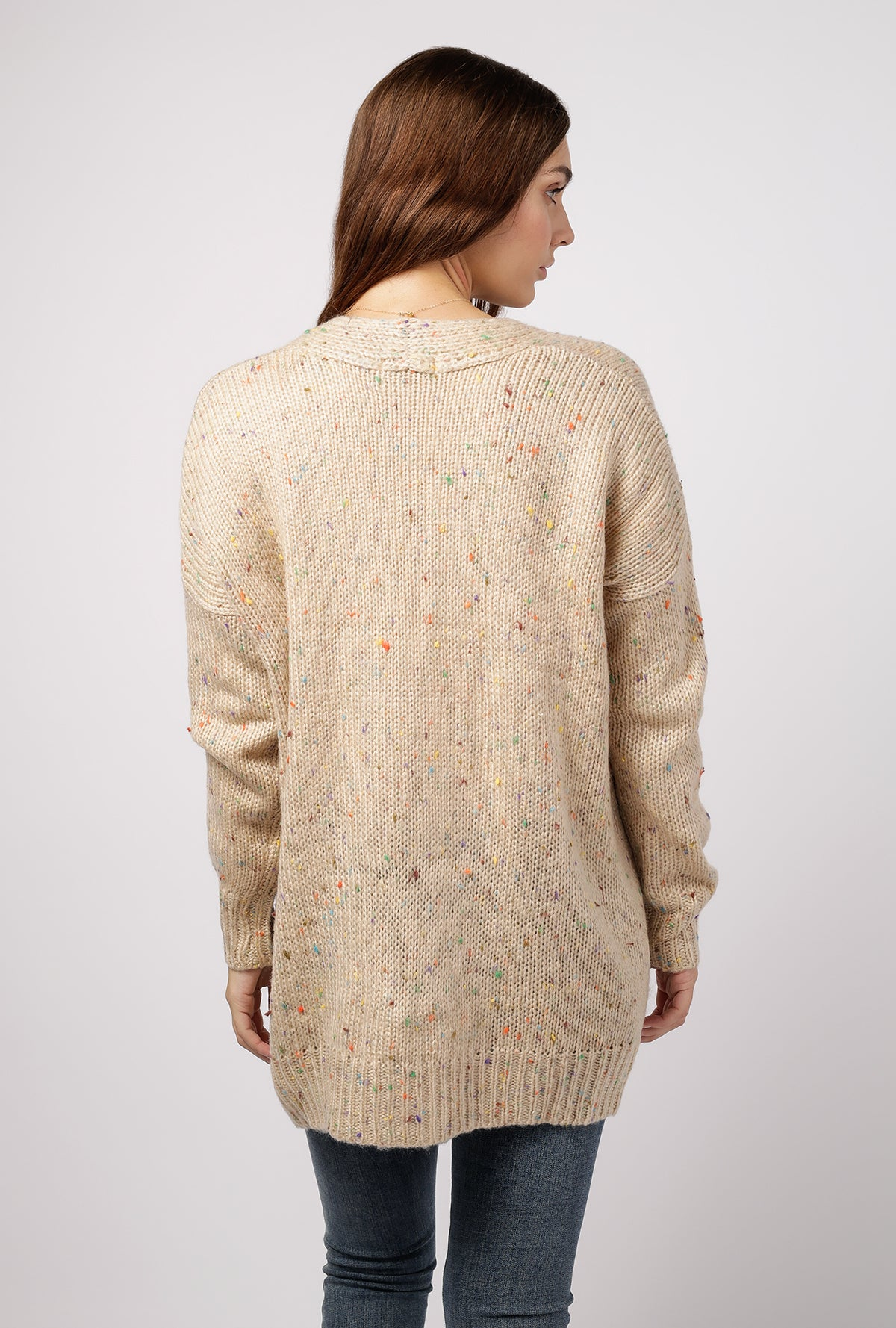 Multi Speckled Cardigan w/Pockets
