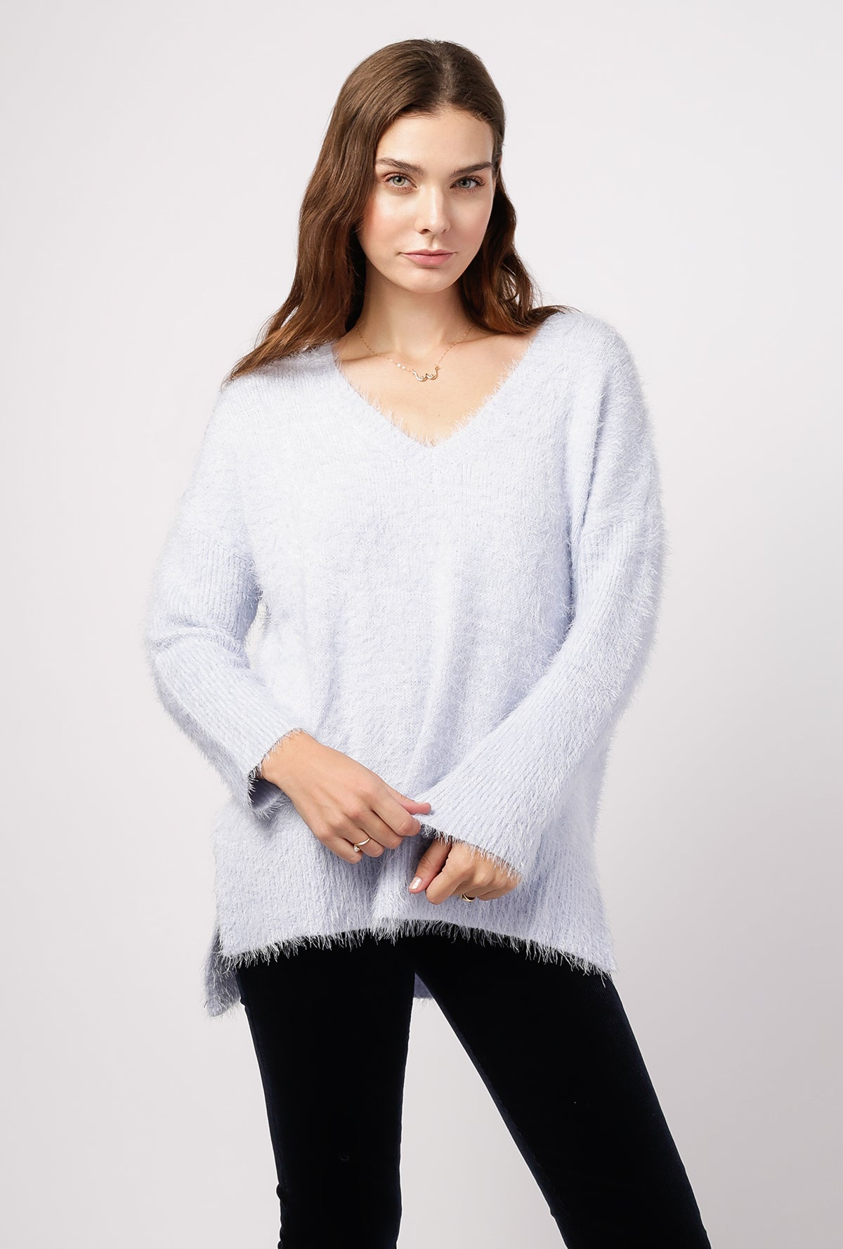 V Neck Fuzzy Sweater