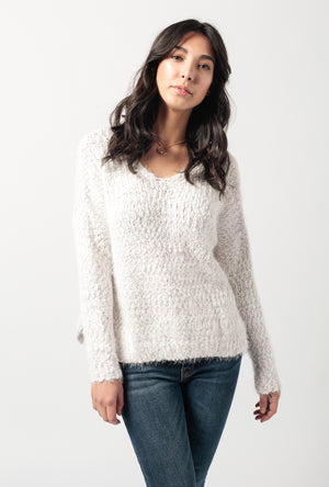 Two Tone V Neck Popcorn Sweater