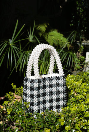 Gingham Pearl Handbag - Cream & Black