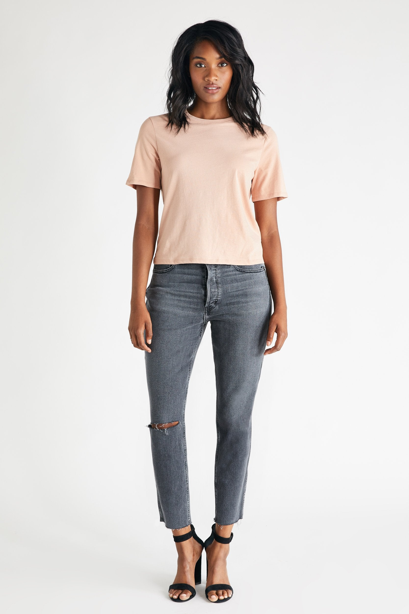 Alex High Rise Ankle Jean in Sunned Black